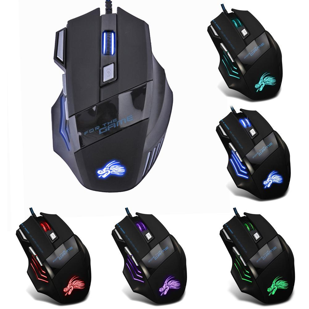 5500dpi Led Optical Usb Wired Gaming Mouse 7 Buttons Type Gamer