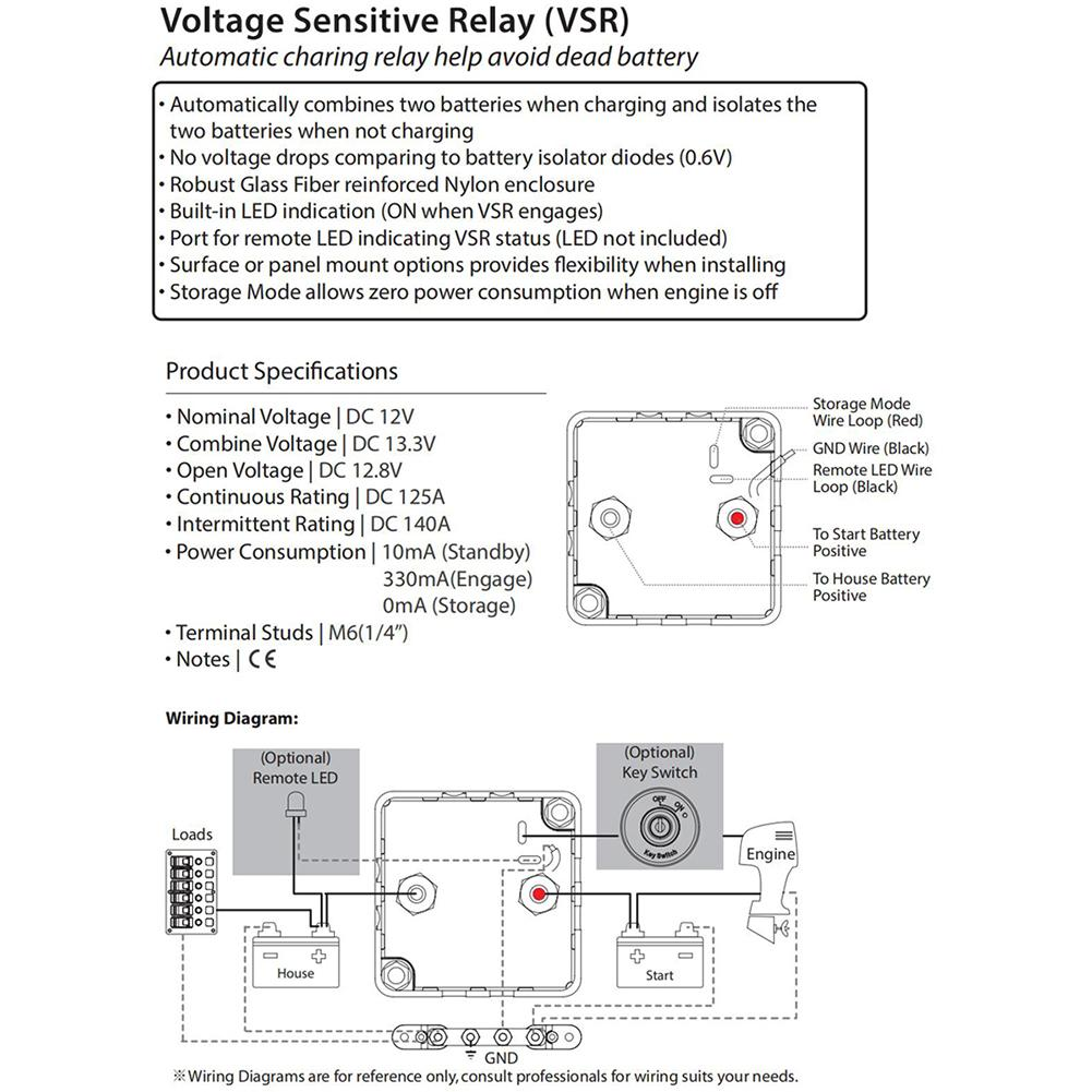 Bep Dvsr Dc 12v 140a Max Digital Voltage Sensing Relay Vsr Marine M6 Fuse Diagram Pictures