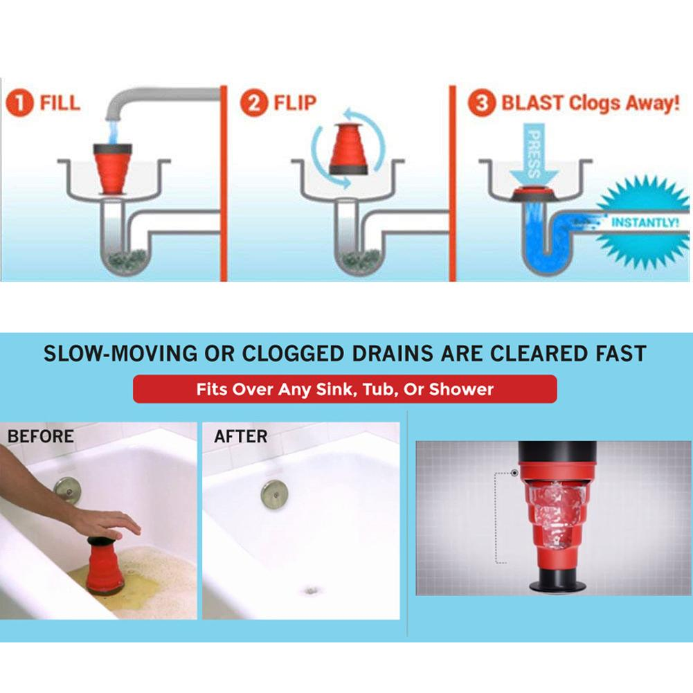 Manual Clog Cannon Air Power Drain Blaster Toilet Kitchen Sink ...