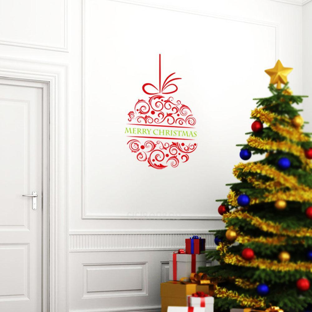 Removable merry christmas ball wall sticker decal mural for Christmas window mural