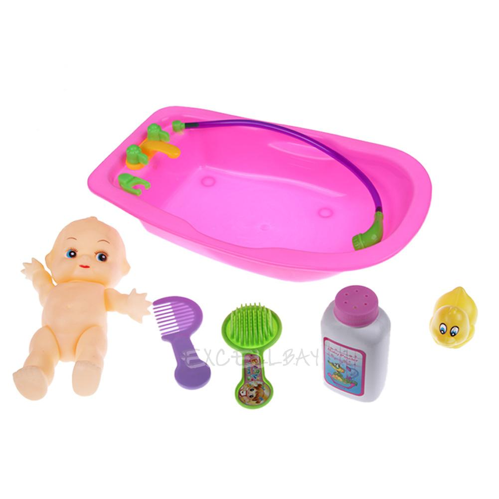 baby doll in bathtub baby doll in bath tub bathing with duck bathroom set kids. Black Bedroom Furniture Sets. Home Design Ideas