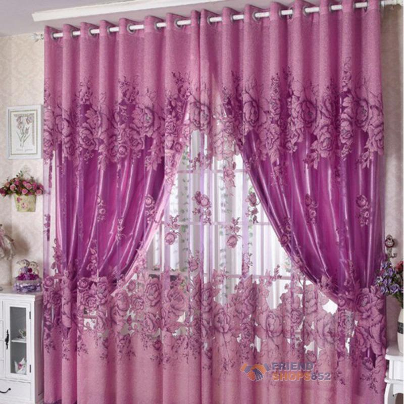 Floral Door Window Curtain Drape Panel Sheers Scarf Valances Living Room  Balcony | EBay