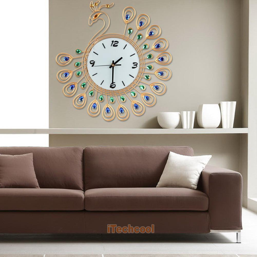 Diamond peacock home wall clocks art metal living room for Living room wall clocks