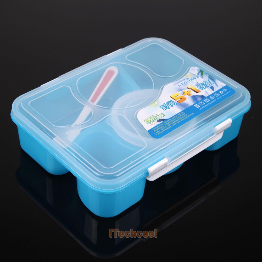 lunch box food soup container storage 5 compartment portable bento box spoon. Black Bedroom Furniture Sets. Home Design Ideas
