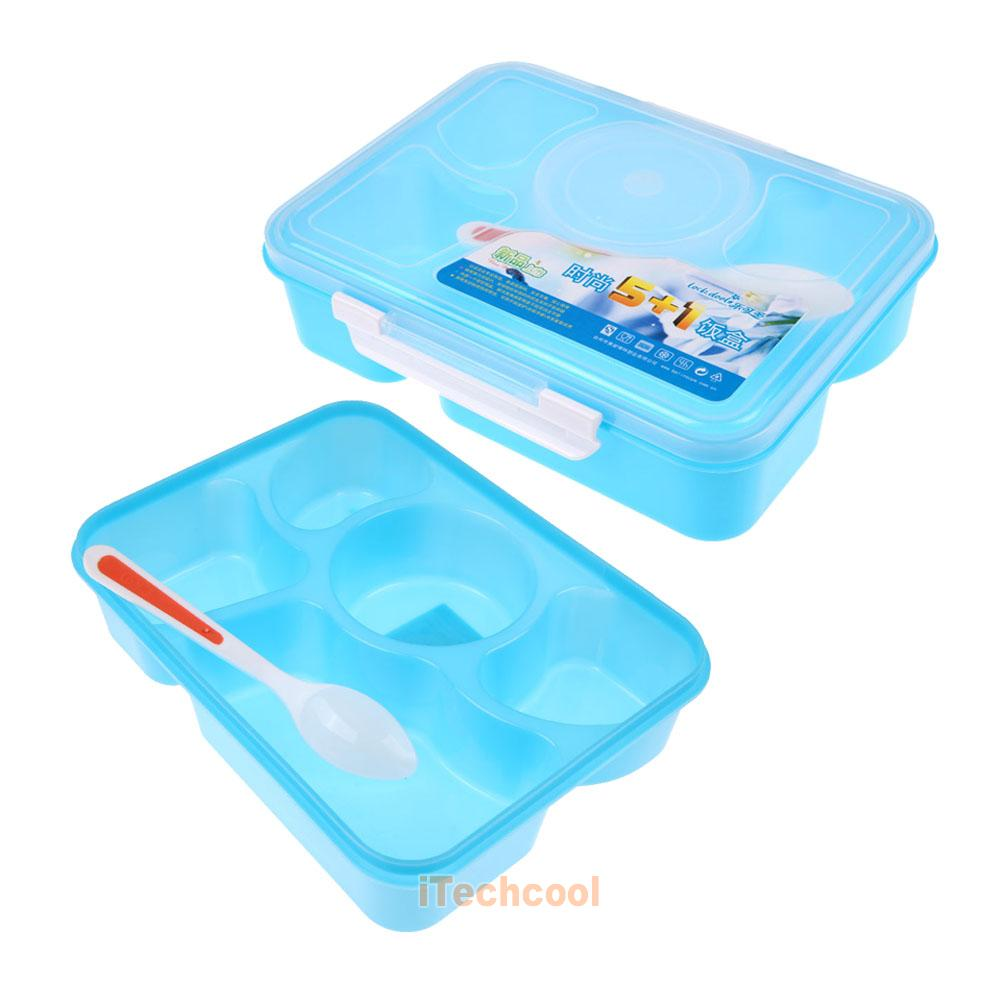 lunch box food soup container storage 5 compartment portable bento box spoon ebay. Black Bedroom Furniture Sets. Home Design Ideas