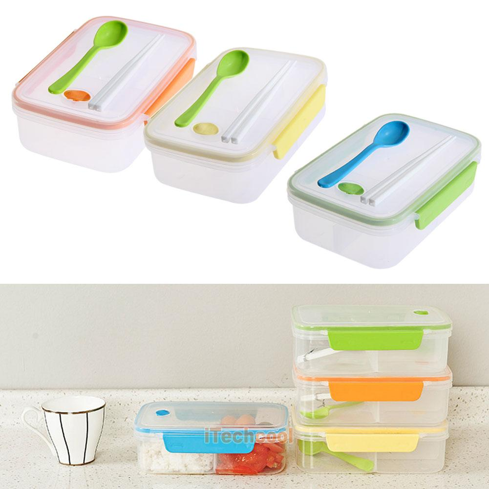 transparent lunch bento box food picnic storage container spoon chopstick ebay. Black Bedroom Furniture Sets. Home Design Ideas