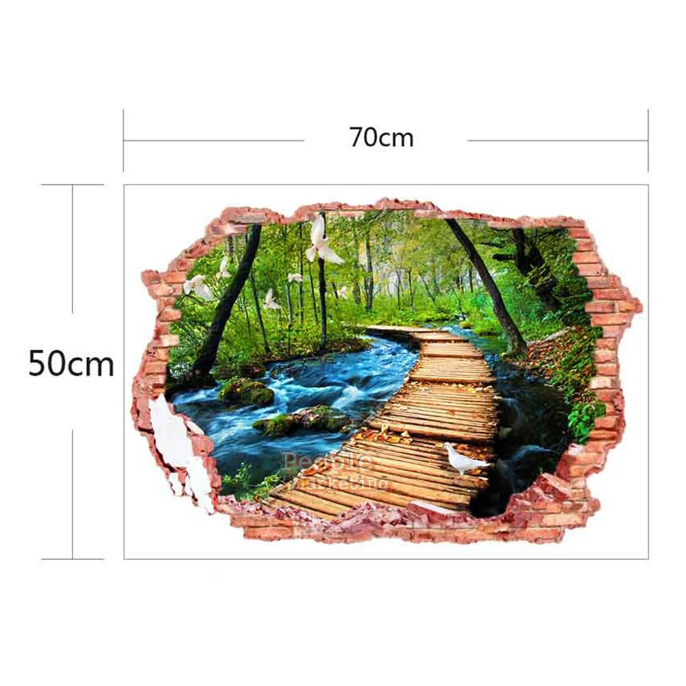 3d broken wall landscape wall sticker removable painting for 3d garden decoration