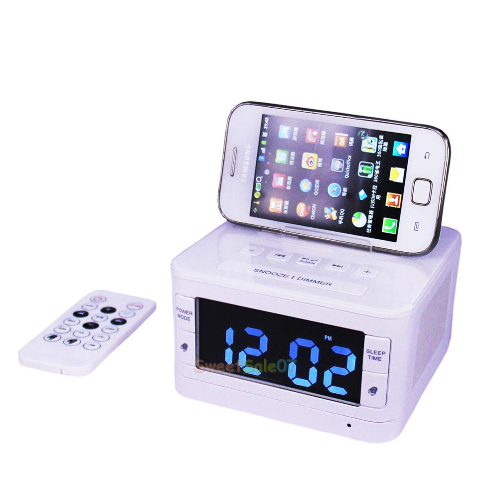 bluetooth docking station speaker dock alarm clock radio for samsung iphone ipod ebay. Black Bedroom Furniture Sets. Home Design Ideas
