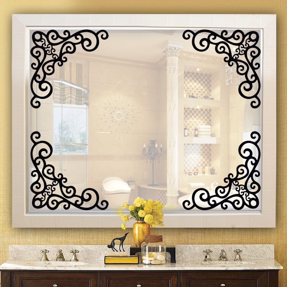 4Pcs Window Bath Room Mirror DIY Wall Decal Decor Art ...