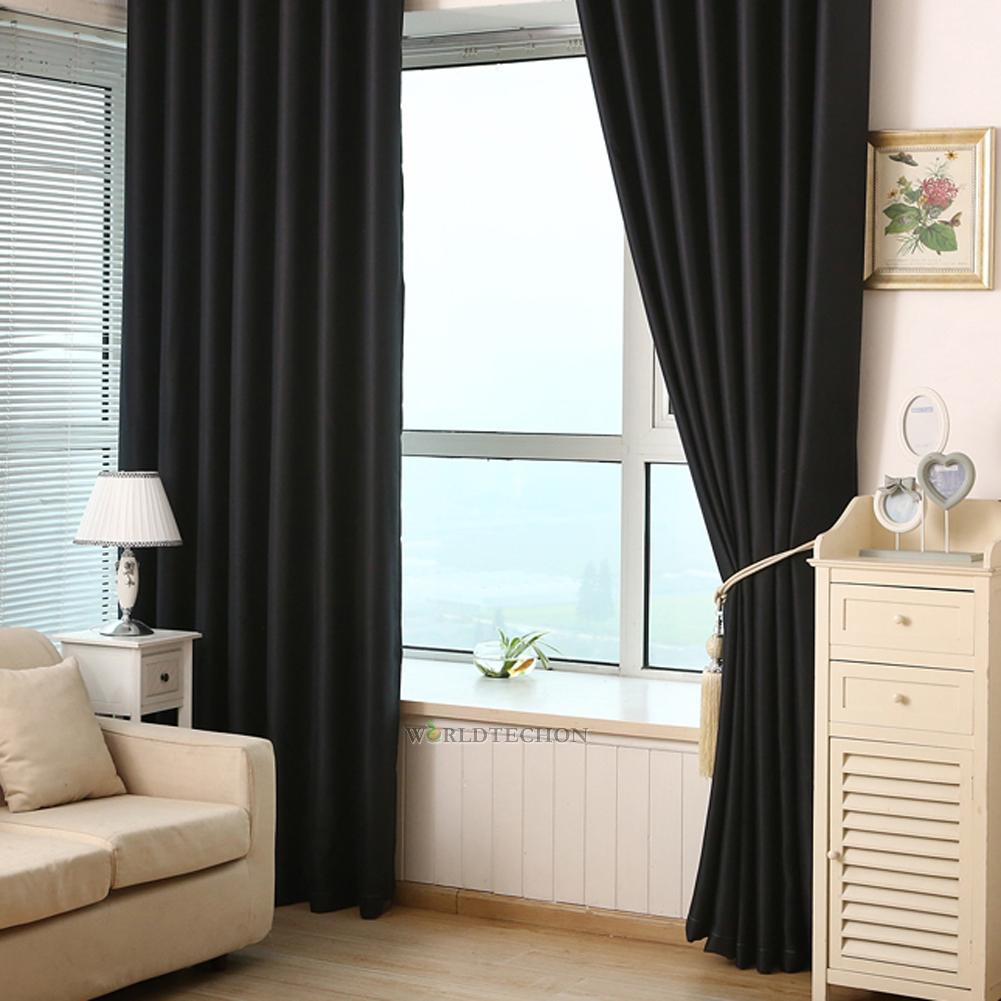 2pcs blackout heavy thick grommet window curtain panel Curtains for wood paneled room