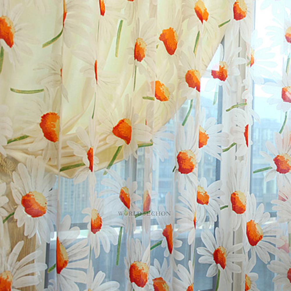 Daisy Flower Shade Sheer Voile Curtain Cafe Kitchen Window