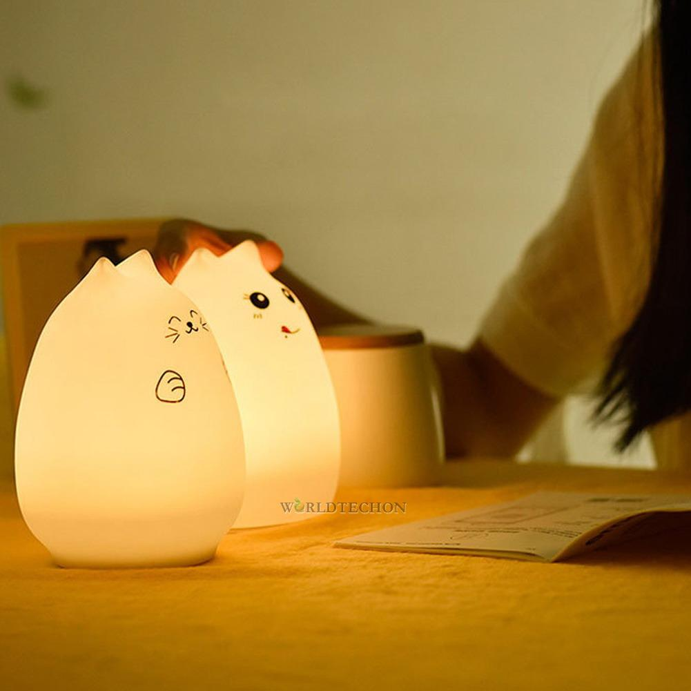 Squishy Cat Night Light : 7-Color Changing Cat LED Night Light Silicone Soft Nursery Lamp Breathing Lights eBay
