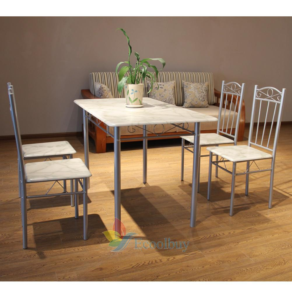 modern space saving dining table and 4 chairs set kitchen room home