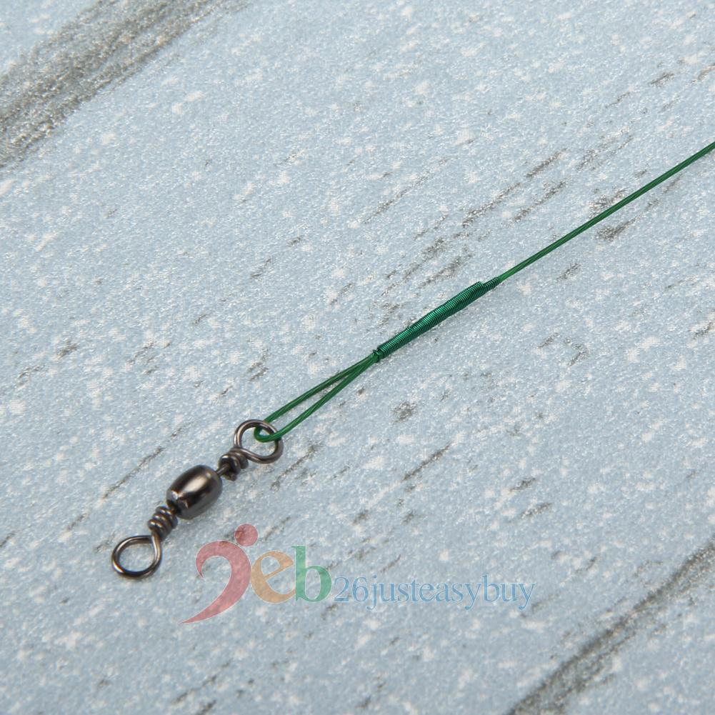 60pcs green stainless steel fish wire leader swivel tackle for Steel fishing leader