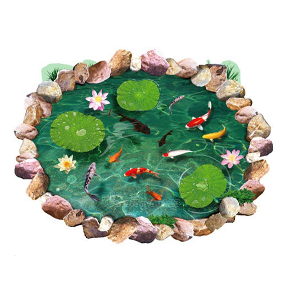 Fish Pond 3d Lotus Floor Wall Sticker Removable Mural Decals Bathroom Art Decor Ebay