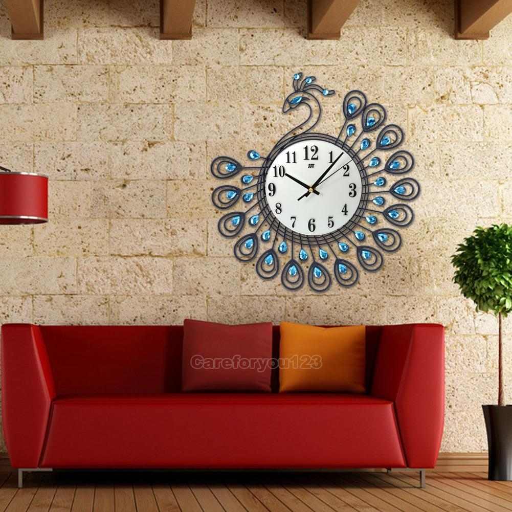 peacock large wall clocks metal wall clock living room home decor