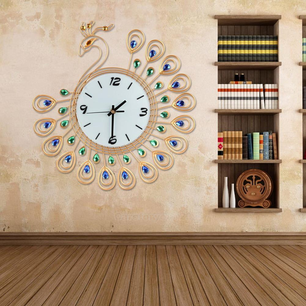 peacock large wall clocks metal living room home decor wall watch