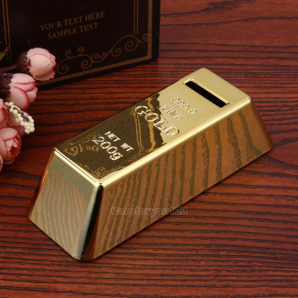 gold bar bullion piggy bank brick coin bank saving money. Black Bedroom Furniture Sets. Home Design Ideas