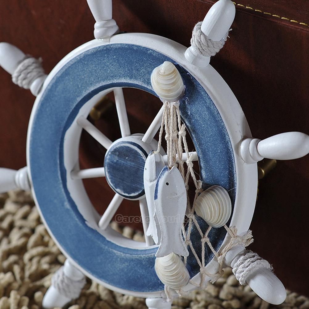 "Nautical Wheel Decor: 9""Wooden Beach Anchor Boat Ship Steering Wheel Fish Net"