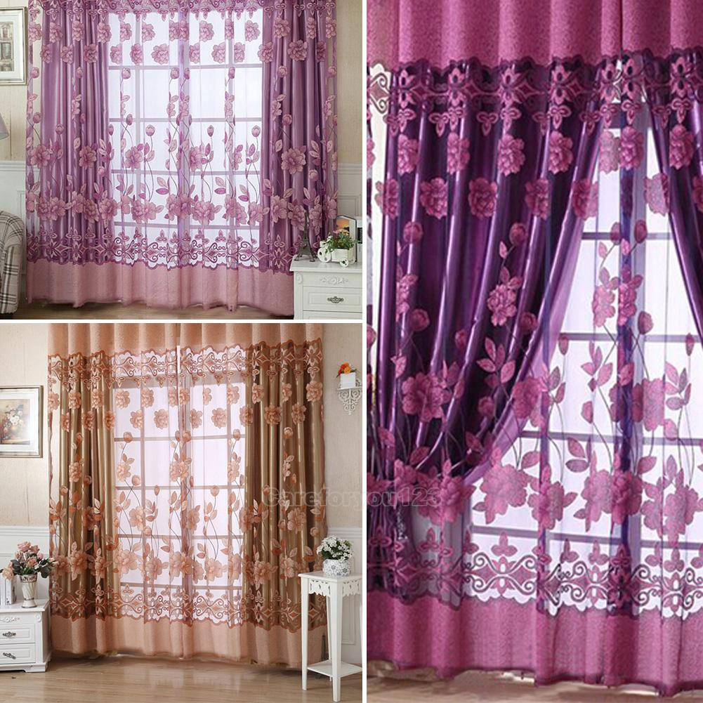 Sheer Voile Door Window Curtain Drape Net Panel Plain Floral Tulle